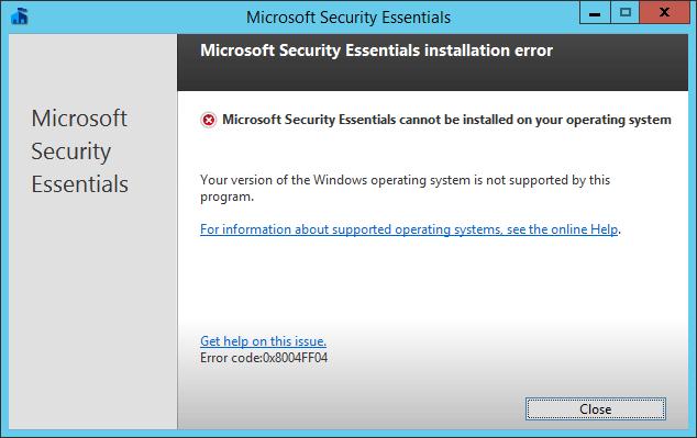 loi cai microsoft security esstential