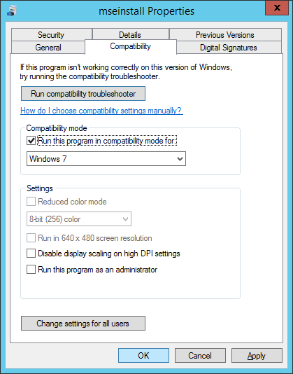 mseinstall compatibility mode